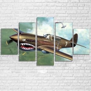 Vintage Airplane Aircraft 5 Panel Canvas Print Wall Art