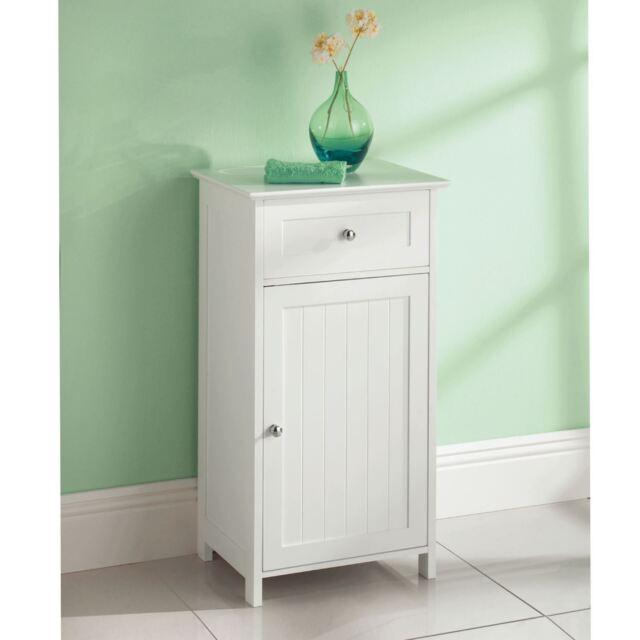 White Wooden 1 Drawer Door Freestanding Bathroom Cabinet Cupboard Storage Unit
