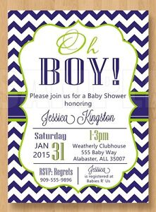 Details About 10 Sweet Navy Blue And Green Oh Boy Baby Shower Invitations Cute Chevron Unique