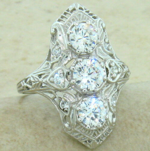 ART DECO CLASSIC ANTIQUE STYLE 925 STERLING SILVER CZ RING SIZE 4.75 #847