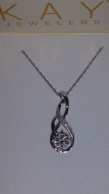 4d1feee2a *NEW* Kay Jewelers Sterling Silver 7 White Diamonds Cluster Necklace (18  Inch)