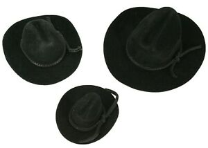 MINI BLACK Felt COWBOY HAT Western Wedding Party Favor Choose Size & Pack Amount