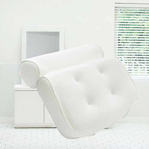 Breathable 3D Mesh Spa Bath Pillow with Suction Cups Neck /& Back Support