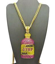 "Hip Hop Rapper Iced Out Syrup Bottle Pendant W/ 6mm 30"" Box Cuban Chain Necklace"