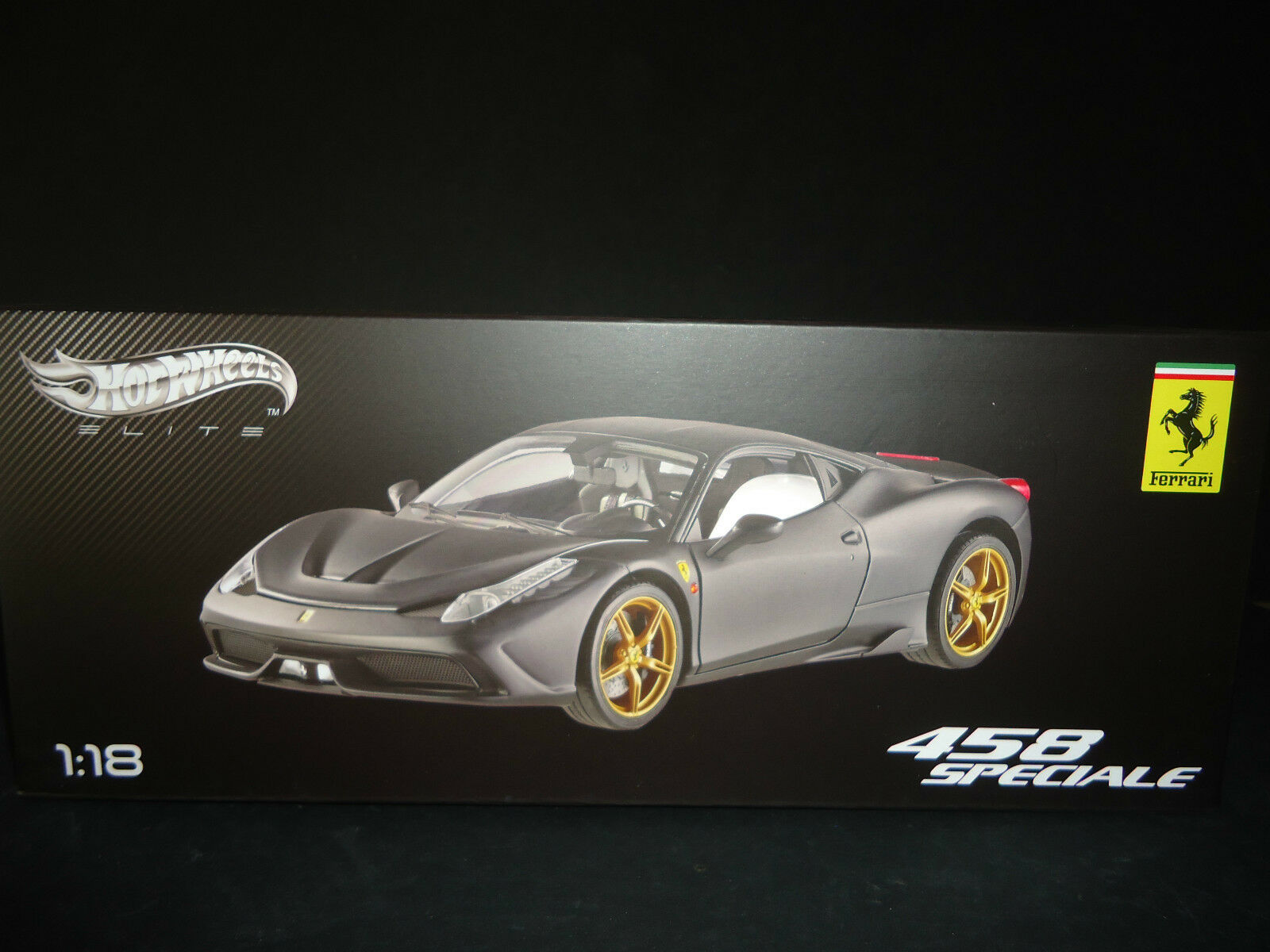 Hot Wheels Elite Ferrari 458 Spéciale Mat Noir 1/18 Édition Limitée | Elaborer  | Digne  | Belle Et Charmante