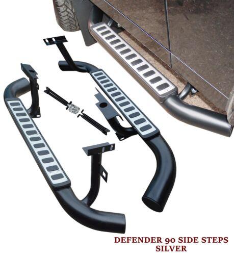 LAND ROVER DEFENDER 90 SIDE STEPS RUNNING BOARDS OEM STYLE SILVER 100/% OEM FIT