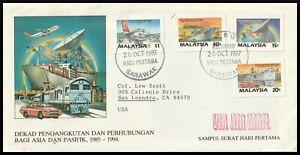 17664 - MALAYSIA 1987  TRANSPORT & COMMUNICATION DECADE FDC MIRI SARAWAK TO USA