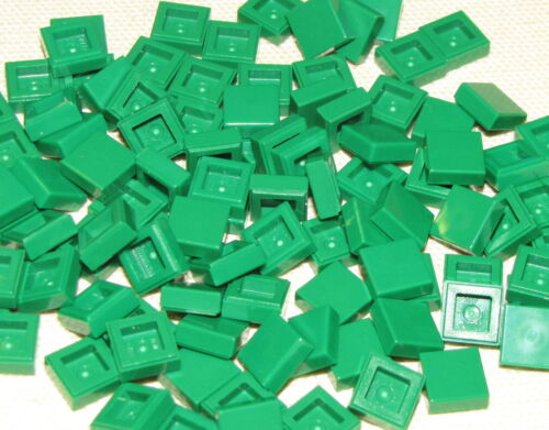 LEGO LOT OF 100 NEW GREEN 1 X 1 FLAT SMOOTH TILES PIECES