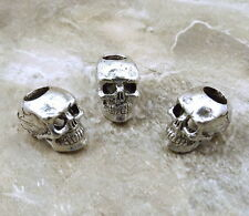 3 Pewter 12mm SKULL  Beads with 4.5mm Vertical Hole  - 5475