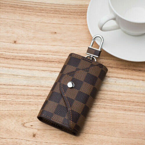 universal Leather Wallet Case Car KeyChain Card Holder key Organizer Bag keyring