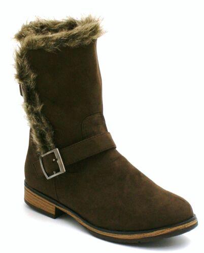 Ladies Womens New Mid Block Heel Chelsea Ankle Biker Winter Fur Boots Shoes Size