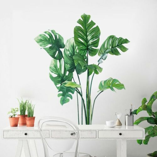 Tropical Leaves Green Plant Wall Stickers Vinyl Decal Living Room Art Mural