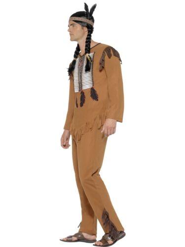 Da Uomo NATIVI AMERICANI INDIANI costume guerriero adulto Costume Cowboy M-XL