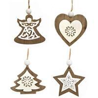 Set of 4 Wooden Christmas Tree Decorations Heart, Angel, Tree & Star