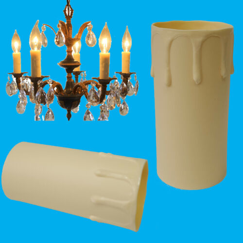 4x Ivory Drip Candle Sleeve Wax Effect Chandelier Light Bulb Cover 85mm x 40mm