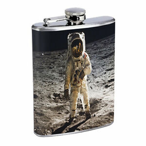 Flask Moon Landing 01R 8oz Stainless Steel Hip Drinking Whiskey