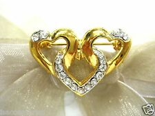 18KGP Heart Chain Swarovski Element Austrian Crystal Rhinestone Brooch Pin