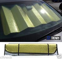 Reversible Chrome & Gold Front Window Windshield Sun Shade Accordion Car Std Sz