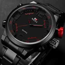 SOXY Mens Stainless Steel Army Sport Wrist Watch Waterproof Analog Watch AP1