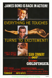GOLDFINGER-MOVIE-POSTER-Original-Folded-27x41-Re-release-1980-Mint-SEAN-CONNERY