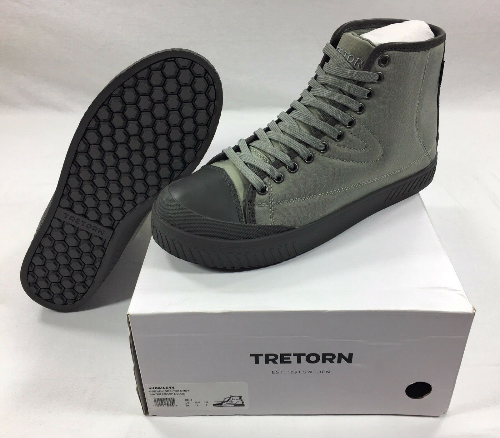 Scarpe casual da uomo  Tretorn uomos Bailey4 Hi Lace Sneaker Shoes Size 8 Waterproof Boot Nylon Upper