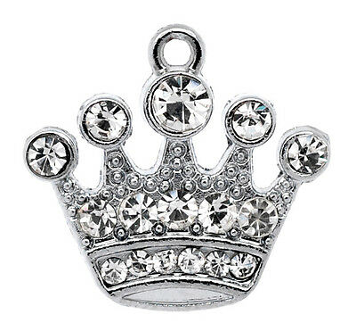 Wholesale Lots Silver Tone Rhinestone Crown Charm Pendants 21x20mm