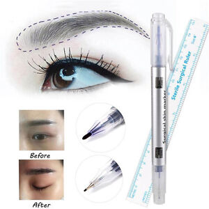 Pro-Microblading-Tattoo-Eyebrow-Skin-Marker-Pen-With-Measure-Measuring-Ruler-New