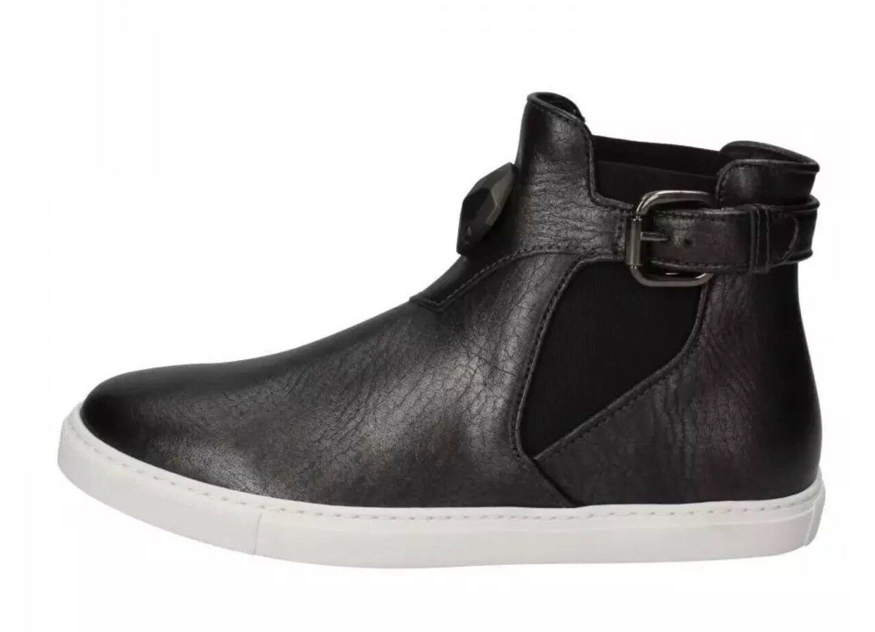 JUST CAVALLI shoes gray/black leather textile women sneakers