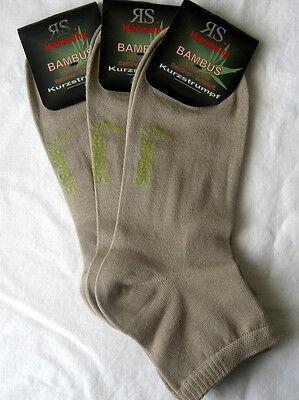 3 Paar Herren Bambus Sneaker Kurzstrumpf Socken Softrand weiß Größe 39 bis 46