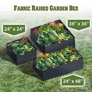 Image Is Loading Rectangle Fabric Raised Garden Bed Herb Flower Vegetable