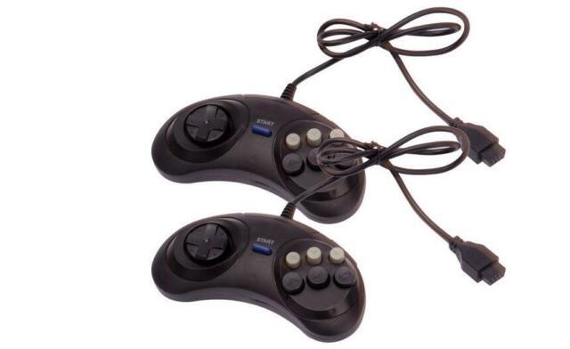 2pcs 6 Button Game Controller for SEGA Genesis Black US seller / Free Shipping