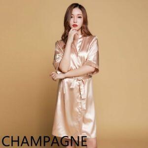 bce76521e7 Women Satin Night Robe Faux Silk Sleepwear Nightgown Bedgown Nighty ...