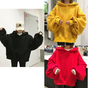 Women-Girl-Hooded-Sweatshirt-Loose-Puff-Sleeve-Batwing-Pullover-Casual-Coat-Tops