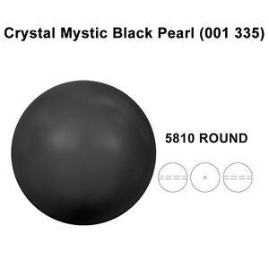 CRYSTAL-MYSTIC-BLACK-PEARL-001-335-Genuine-Swarovski-5810-Round-All-Sizes
