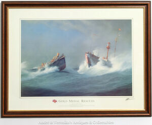 R-N-L-I-GOLD-MEDAL-RESCUES-Print-Ballycotton-CO-CORK-1936-Rescue-Framed-RNLI