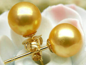 natural AAA 9-9.5mm South Sea golden Pearl Earrings 14K YELLOW GOLD
