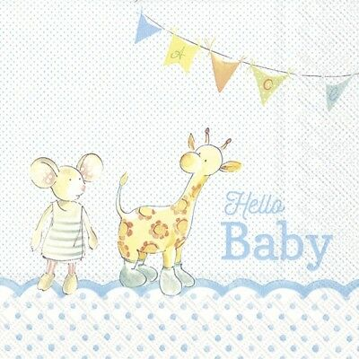 New baby boy 4 Single paper decoupage napkins cute design-568 baby shoes