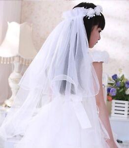 Women-Flower-Girl-Children-lace-Pure-White-Wedding-Veil-Hair-Head-band-Garland