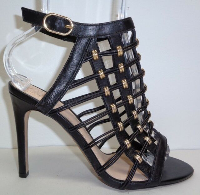 b89ef3360f1 Vince Camuto Size 9 M KALARE Black Leather Cage Heels Sandals New Womens  Shoes