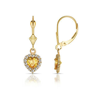14K-Yellow-Gold-White-Sapphire-amp-Citrine-Halo-Heart-Dangle-Leverback-Earrings