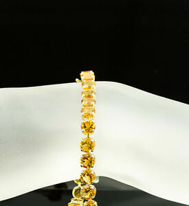 12-5CT-Round-Cut-Yellow-Citrine-14K-Yellow-Gold-Over-Engagement-Unique-Bracelet