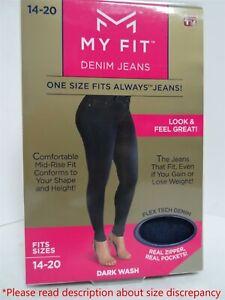 0e8137db0e My Fit Denim Jeans Real Zipper   Pockets Dark Wash Fits Sizes 14-20 ...