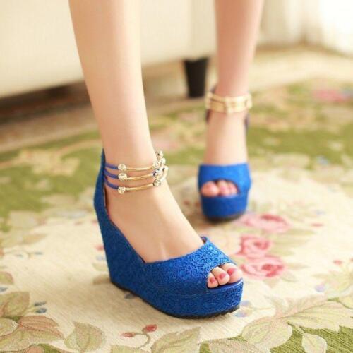 Details about  /Women/'s Lace Peep Toe Shiny Wedge High Chic Heel Platform Summer  Beach Sandals