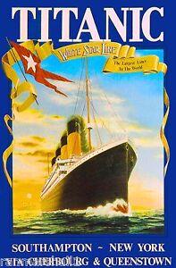 1912 Titanic R.M.S White Star Ocean Liner Travel ...