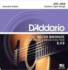 Cuerdas De Guitarra Acústica D'Addario EJ13 luz personalizada 11-52