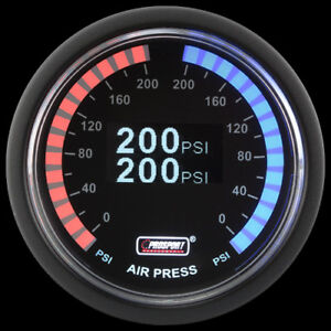 2 Air Gauges Dual 200 psi Digital Display Air Ride Suspension System Tinted LED