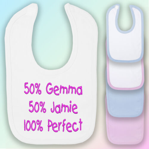 100/% Perfect Embroidered Baby Bib Gift Personalised Shower Funny Boy Girl