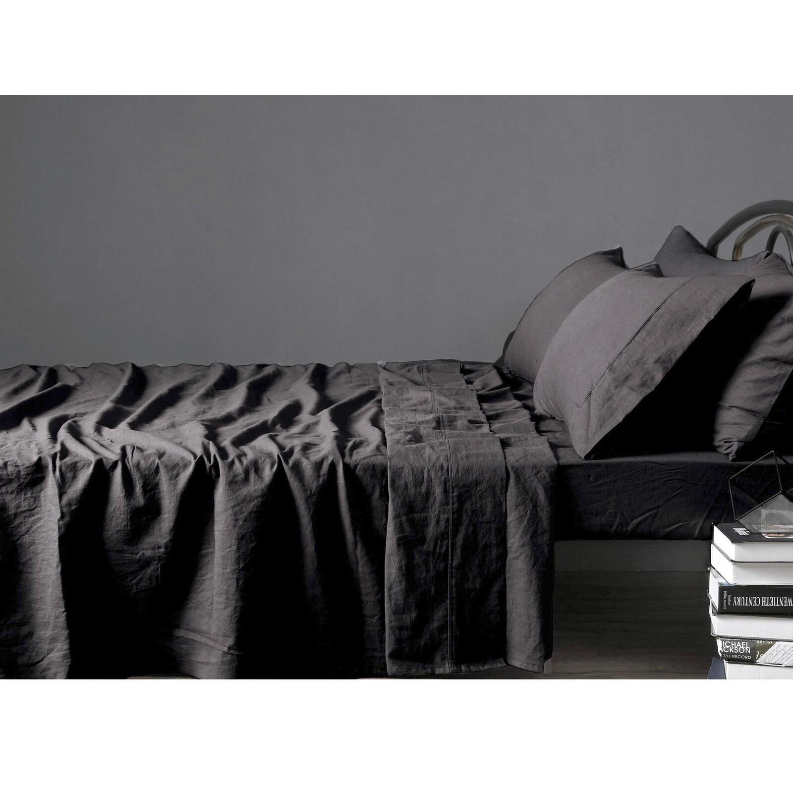 4 Pce 100%  Pure Linen SLATE Sheet Set by Vintage Design Homewares - QUEEN KING