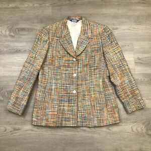Austin Reed Womens Size 14 Multicolor Tweed Silk 3 Button Blazer Jacket Ebay
