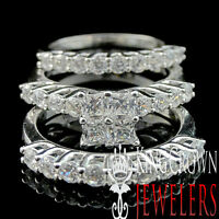 Ladies Sterling Silver White Gold Finish 3 Piece Bridal Wedding Ring Band Set